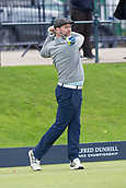 3rd October 2017, The Old Course, St Andrews, Scotland; Alfred Dunhill Links Championship, practice round; Westlife singer Brian McFadden tees off on the first hole  during a practice round on the Old Course, St Andrews before the Alfred Dunhill Links Championship
