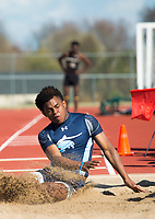 NWA Democrat-Gazette/CHARLIE KAIJO Bryton Cook, 18, of Springdale Har-Ber long jumps during the Tiger Relays track meet, Friday, March 16, 2018 at the Tiger Athletic Complex in Bentonville.