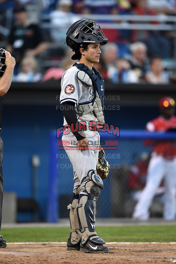 Staten Island Yankees catcher Luis Torrens (57) during a game against the Batavia Muckdogs on August 8, 2014 at Dwyer Stadium in Batavia, New York.  Staten Island defeated Batavia 4-2.  (Mike Janes/Four Seam Images)