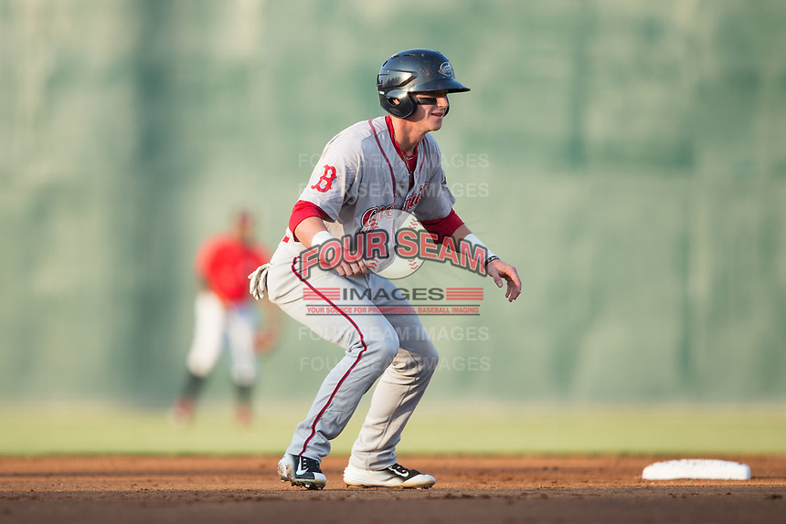 Brett Netzer (12) of the Greenville Drive takes his lead off of second base during the game against the Kannapolis Intimidators at Kannapolis Intimidators Stadium on August 9, 2017 in Kannapolis, North Carolina.  The Drive defeated the Intimidators 6-1.  (Brian Westerholt/Four Seam Images)