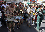 "Members of a French band named ""Musica Brass"" perform a music showing  for Palestinians in the the West Bank city of Ramallah on June 21, 2009. Photo by Issam Rimawi"