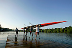 Rowers from the University of Cincinnati launch their Men's Varsity Heavyweight Four boat during the 68th Dad Vail Regatta on the Schuylkill River in Philadelphia, Pennsylvania on May 12, 2006........
