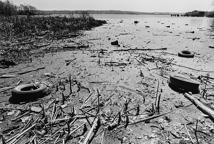 Tires, trash, etc., in the Potomac River (near National Airport) Virginia in 1997. (Photo by Laura Patterson/CQ Roll Call via Getty Images)