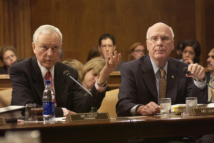 5/13/04.JUDICIARY LEGISLATION AND NOMINATIONS VOTES--Chairman Orrin G. Hatch, R-Utah, and ranking Democrat Patrick J. Leahy, D-Vt., during the Senate Judiciary Committee markup of pending legislation and vote on pending judicial nominations..CONGRESSIONAL QUARTERLY PHOTO BY SCOTT J. FERRELL