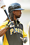 16 May 2012: Pittsburgh Pirates outfielder Andrew McCutchen awaits his turn in the batting cage prior to a game against the Washington Nationals at Nationals Park in Washington, DC. The Nationals defeated the Pirates 7-4 in the first game of their 2-game series. Mandatory Credit: Ed Wolfstein Photo