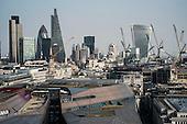 City of London landmark Natwest Tower, Gherkin, Cheese-grater and Walkie-Talkie buildings.