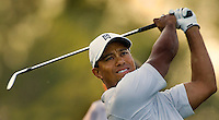 Tiger Woods watches his shot during the 2007 Wachovia Championships at Quail Hollow Country Club in Charlotte, NC.