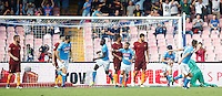 Calcio, Serie A: Napoli vs Roma. Napoli, stadio San Paolo, 15 ottobre. <br /> Napoli&rsquo;s Kalidou Koulibaly, fourth from left, celebrates after scoring during the Italian Serie A football match between Napoli and Roma at Naples' San Paolo stadium, 15 October 2016. Roma won 3-1.<br /> UPDATE IMAGES PRESS/Isabella Bonotto