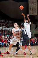 Stanford's Lili Thompson, attempts making a basket during Stanford women's basketball  vs Washington State at Maples Pavilion, Stanford, California on March 1, 2014.