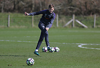 Pictured: Keston Davies takes a shot Friday 24 March 2017<br /> Re: Swansea City U23 training ahead of their International Cup game against Porto, Fairwood training ground, UK