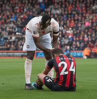 Manchester United's Paul Pogba (left) giving Bournemouth's Ryan Fraser a hand up after his foul on Fraser<br /> <br /> Photographer David Horton/CameraSport<br /> <br /> The Premier League - Bournemouth v Manchester United - Saturday 3rd November 2018 - Vitality Stadium - Bournemouth<br /> <br /> World Copyright &copy; 2018 CameraSport. All rights reserved. 43 Linden Ave. Countesthorpe. Leicester. England. LE8 5PG - Tel: +44 (0) 116 277 4147 - admin@camerasport.com - www.camerasport.com