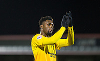 Gozie Ugwu of Wycombe Wanderers  celebrates the win during the Sky Bet League 2 match between Dagenham and Redbridge and Wycombe Wanderers at the London Borough of Barking and Dagenham Stadium, London, England on 9 February 2016. Photo by Andy Rowland.