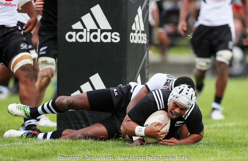 Gideon Wrampling scores during the rugby union match between New Zealand Schools and Fiji Schools at Hamilton Boys' High School in Hamilton, New Zealand on Monday, 30 September 2019. Photo: Simon Watts / lintottphoto.co.nz