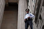 NEW YORK, NY - APRIL 20: A  NYPD police officer attends a Occupy Wall Street protest on April 20, 2012 in New York City