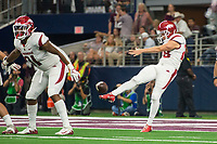 Hawgs Illustrated/Ben Goff<br /> Reid Bauer punts for Arkansas in the 4th quarter vs Texas A&M Saturday, Sept. 29, 2018, during the Southwest Classic at AT&T Stadium in Arlington, Texas.