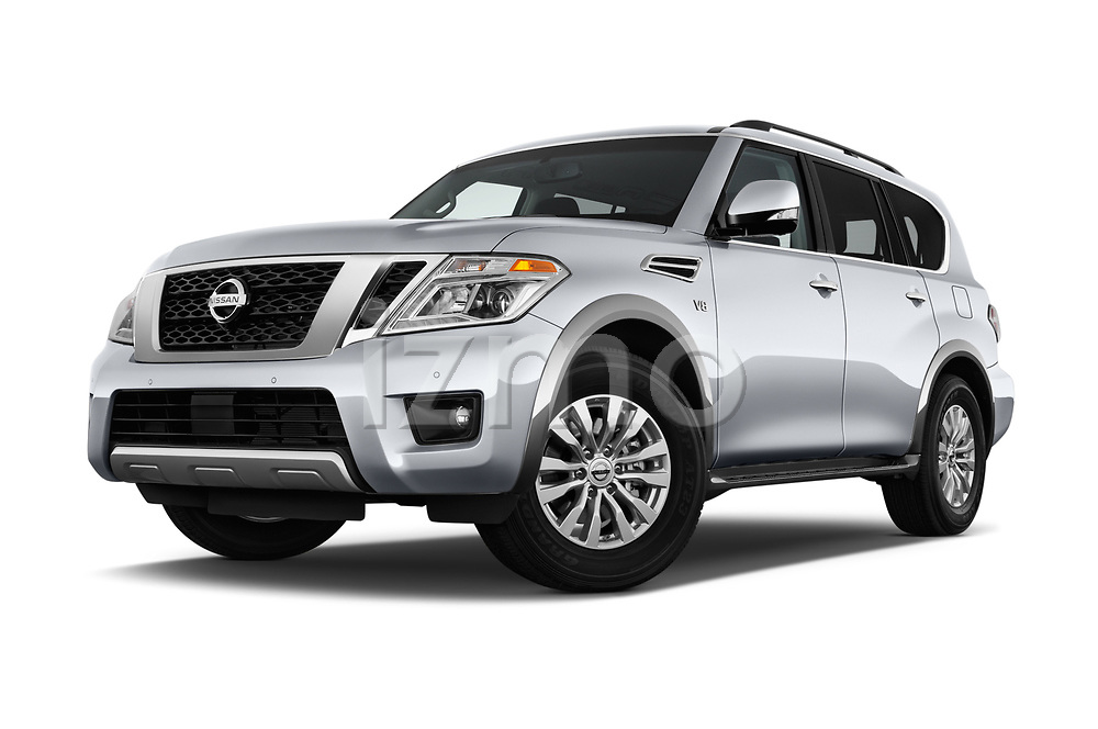 Stock pictures of low aggressive front three quarter view of 2017 Nissan Armada SV 5 Door SUV