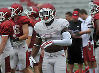 NWA Democrat-Gazette/MICHAEL WOODS &bull; @NWAMICHAELW<br /> University of Arkansas defensive back DJ Dean runs drills during practice Saturday August 22, 2015 at Razorback Stadium in Fayetteville.