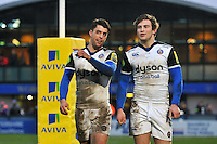 Adam Hastings and Max Clark of Bath Rugby after the match. Aviva Premiership match, between Worcester Warriors and Bath Rugby on February 13, 2016 at Sixways Stadium in Worcester, England. Photo by: Patrick Khachfe / Onside Images