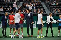 Rotterdam, The Netherlands. 16.02.2014. Michael Llodra(FRA)/Nicolas Mahut(FRA) and Jean-Julien Rojer(NED)/Horia Tecau(ROE)  ABN AMRO World tennis Tournament<br /> Photo:Tennisimages/Henk Koster