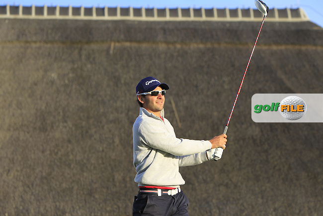 Carlos Del Morel (ESP) on the 1st tee during Round 1 of the 2015 KLM Open at the Kennemer Golf &amp; Country Club in The Netherlands on 10/09/15.<br /> Picture: Thos Caffrey | Golffile