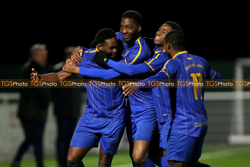Gabriel Adelowo of Romford scores the second goal for his team and celebrates during Romford vs Brentwood Town, BetVictor League North Division Football at Parkside on 11th February 2020
