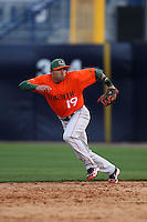 March 2, 2010:  Second Baseman Frankie Ratcliff of the Miami Hurricanes during a game at Legends Field in Tampa, FL.  Photo By Mike Janes/Four Seam Images