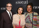 "Tony Gerber, Ruby Gerber and Lynn Nottage attend the Broadway Production of  ""Sweat"" at studio 54 Theatre on March 26, 2017 in New York City"