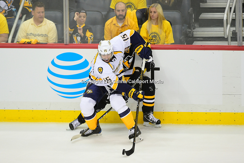 May 29, 2017: Nashville Predators center Craig Smith (15) blocks Pittsburgh Penguins right wing Patric Hornqvist (72) to play the puck during game one of the National Hockey League Stanley Cup Finals between the Nashville Predators  and the Pittsburgh Penguins, held at PPG Paints Arena, in Pittsburgh, PA. Pittsburgh defeats Nashville 5-3 in regulation time.  Eric Canha/CSM