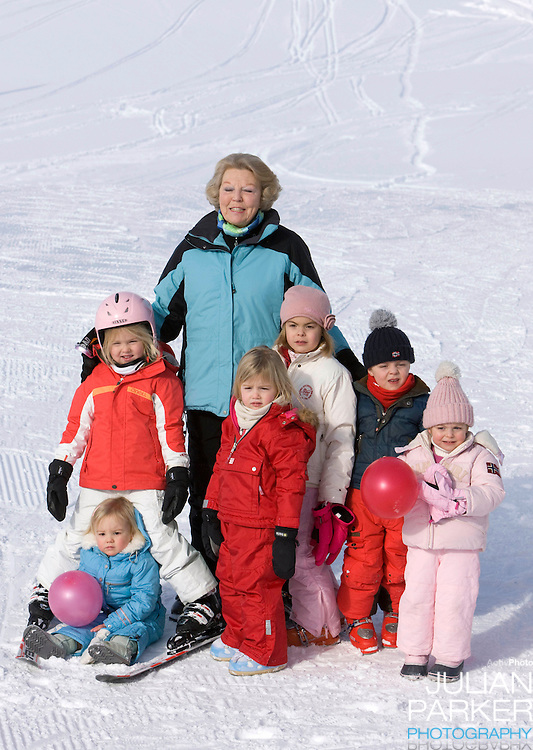 Queen Beatrix of Holland with grandchildren Princess Alexia, Princess Catharina Amalia and Princess Ariane, Countess Eloise, Count Claus Casimir, and Countess Leonore attend a Photocall with Members of The Dutch Royal Family during their Winter Ski Holiday in Lech Austria