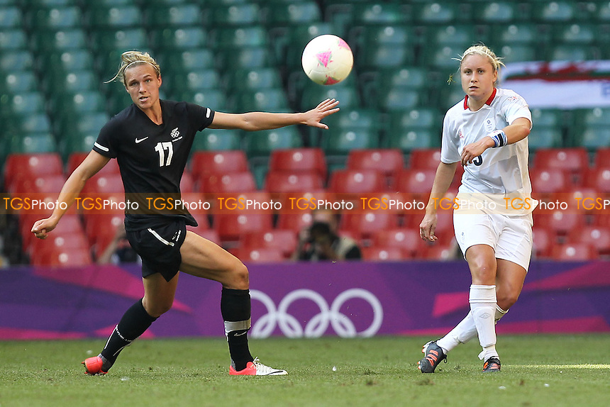 Stephanie HOUGHTON of Great Britain and Hannah WILKINSON of New Zealand - Great Britain Women vs New Zealand Women - Womens Olympic Football Tournament London 2012 Group E at the Millenium Stadium, Cardiff, Wales - 25/07/12 - MANDATORY CREDIT: Gavin Ellis/SHEKICKS/TGSPHOTO - Self billing applies where appropriate - 0845 094 6026 - contact@tgsphoto.co.uk - NO UNPAID USE.