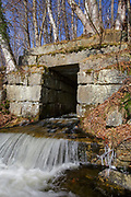 Stone culvert at the Black Brook crossing along the old Maine Central Railroad in Carroll, New Hampshire USA.