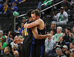 SIOUX FALLS, SD - MARCH 8: Marcus DeBerry #41 and Matt Holba #13 of the PFW Mastodons of the PFW Mastodons hug after their loss to North Dakota at the 2020 Summit League Basketball Championship in Sioux Falls, SD. (Photo by Dave Eggen/Inertia)