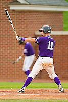 Spencer Angelis #11 of the High Point Panthers at bat against the VMI Keydets at Willard Stadium on March 31, 2012 in High Point, North Carolina.  The Panthers defeated the Keydets 2-0.  (Brian Westerholt/Four Seam Images)