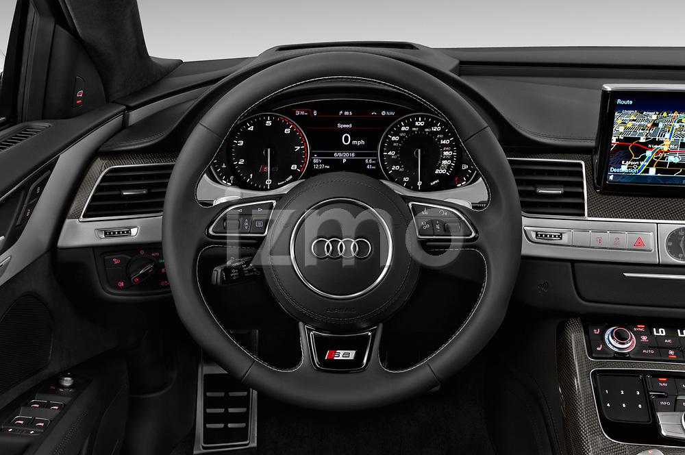 Car pictures of steering wheel view of a 2018 Audi S8 Plus quattro Tiptronic 4 Door Sedan
