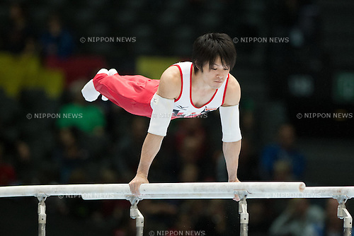 Kohei Uchimura (JPN), SEPTEMBER 30, 2013 - Artistic Gymnastics : Kohei Uchimura of Japan competes on the parallel bars during a qualification session at the 2013 World Artistic Gymnastics Championships at Antwerps Sportpaleis (Antwerp's Sport Palace), Antwerp, Belgium. (Photo by Enrico Calderoni/AFLO SPORT)