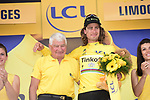 Race leader Peter Sagan (SVK) Tinkoff retains the Yellow Jersey pictured with former champion cyclist Raymond Poulidor on the podium at the end of Stage 4 of the 2016 Tour de France, running 237.5km from Saumur to Limoges, France. 5th July 2016.<br /> Picture: ASO/A.Broadway | Newsfile<br /> <br /> <br /> All photos usage must carry mandatory copyright credit (© Newsfile | ASO/A.Broadway)