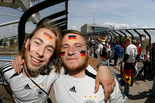Jun 9, 2006; Munich, GERMANY; German soccer fan Martin Usdrowski and Robin Wagner, both of Dortmund Germany on their way to attend the opening game of the World Cup. Germany plays Costa Rica in Munich and Poland plays Ecuador in Gelsenkirchen in Group A first round action. Mandatory Credit: Ron Scheffler-US PRESSWIRE Copyright © Ron Scheffler