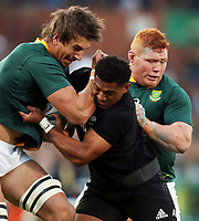 PRETORIA, SOUTH AFRICA - OCTOBER 06: Waisake Naholo of the New Zealand (All Blacks) looks to make a tackle on Eben Etzebeth of South Africa during the Rugby Championship match between South Africa Springboks and New Zealand All Blacks at Loftus Versfeld Stadium. on October 6, 2018 in Pretoria, South Africa. Photo: Steve Haag / stevehaagsports.com