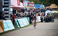 A very dominant Wout Van Aert (BEL/Vastgoedservice-Golden Palace) crossing the finish line victoriously once again this season<br /> <br /> Men Elite Race<br /> Superprestige Zonhoven 2015