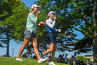 Lydia Ko (NZL) and So Yeon Ryu (KOR) share some fruit as they depart the tee on 8 during round 2 of the 2018 KPMG Women's PGA Championship, Kemper Lakes Golf Club, at Kildeer, Illinois, USA. 6/29/2018.<br /> Picture: Golffile | Ken Murray<br /> <br /> All photo usage must carry mandatory copyright credit (&copy; Golffile | Ken Murray)