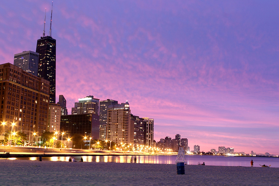 Chicago skyline at dusk from Lake Michigan shoreline, Chicago, Cook County, Illinois, USA