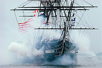 "USS Constitution, ""Old Ironsides"", Charlestown Navy Yard, Boston, MA on annual turnaround, with guns, July 4"
