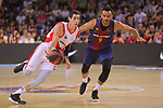 League ACB-ENDESA 2017/2018.<br /> PlayOff-Semifinal-Game: 3<br /> FC Barcelona Lassa vs Kirolbet Baskonia: 67-65.<br /> Luca Vildoza vs Adam Hanga.