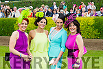 l-r Joanne Murphy,Kilgarvan,Gina Crowley,Kenmare,Lisa Benning,Kenmare and Chris Sugrue,Kenmare  on Ladies Day at Killarney Races on Thursday