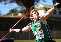 Tasman's Cameron O'Neill competes in the men's javelin during day two of the National athletics championships at Newtown Park, Wellington, New Zealand on Saturday, 28 March 2009. Photo: Dave Lintott / lintottphoto.co.nz