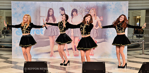 "Secret, Feb 06, 2014 : Secret, Song Jieun, Han Sunhwa, Jun Hyoseong, Jung Hana, February 6, 2014, Tokyo, Japan : South Korean girl group ""Secret"" performs during a promotion event in Tokyo, Japan, on February 6, 2014."