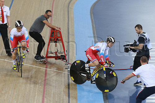 04.03.2016. Lee valley Velo Centre. London England. UCI Track Cycling World Championships Womens team sprint final.  Team Russia<br /> SHMELEVA Daria and VOINOVA Anastasiia gold medalists