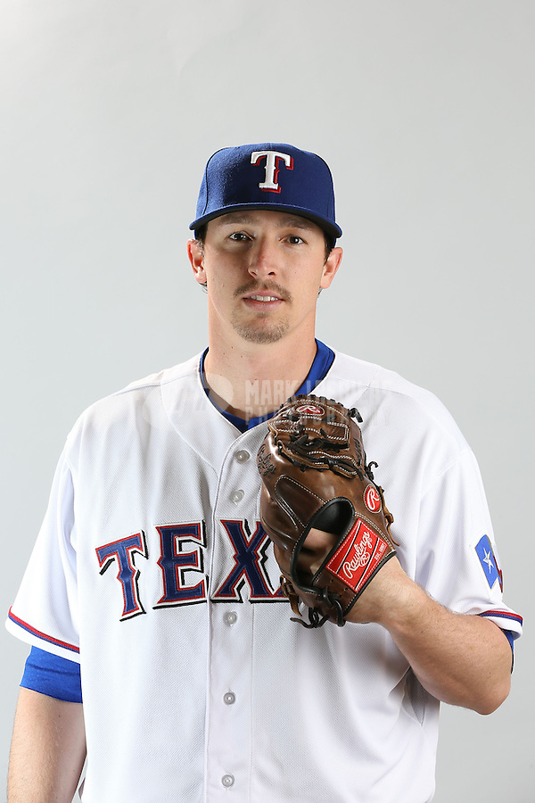 Feb. 20, 2013; Surprise, AZ, USA: Texas Rangers pitcher Tanner Scheppers poses for a portrait during photo day at Surprise Stadium. Mandatory Credit: Mark J. Rebilas-