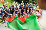 The peloton climb during Stage 8 of the 104th edition of the Tour de France 2017, running 187.5km from Dole to Station des Rousses, France. 8th July 2017.<br /> Picture: ASO/Alex Broadway | Cyclefile<br /> <br /> <br /> All photos usage must carry mandatory copyright credit (&copy; Cyclefile | ASO/Alex Broadway)