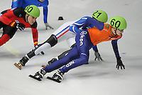 SCHAATSEN: DORDRECHT: Sportboulevard, Korean Air ISU World Cup Finale, 11-02-2012, Itzhak de Laat NED (60), Maxime Chataignier FRA (21), ©foto: Martin de Jong